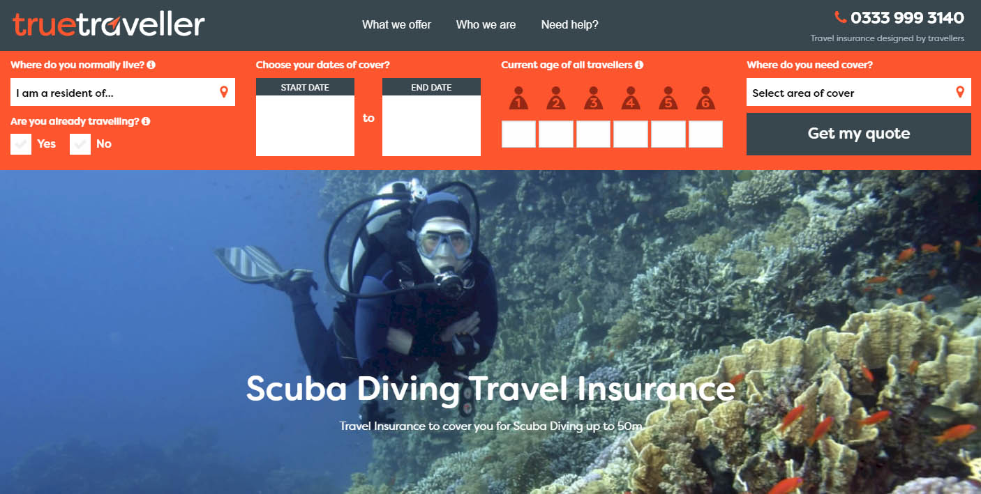 Tru Traveller Insurance Scuba example