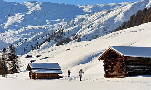 Hikers with snowshoes in Rojen valley, snowy landscape, Upper Vinschgau valley, Trentino-Alto Adige, Italy.