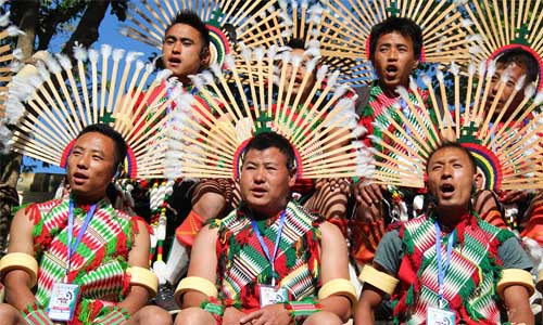 Nagaland headhunters in traditional attire
