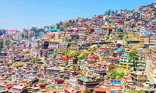 High Angle Shot Of Townscape Against Sky -Shimla, India