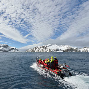 Speedboat in Arctic